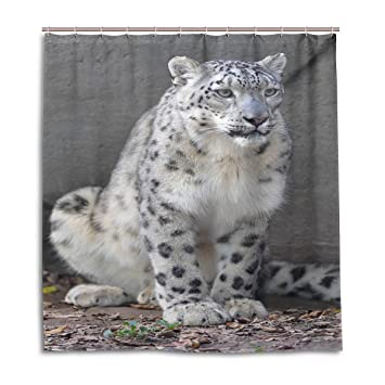 SCDS Boring Snow Leopard Shower Curtain Waterproof Mouldproof Thickening Extra Long 66x72in