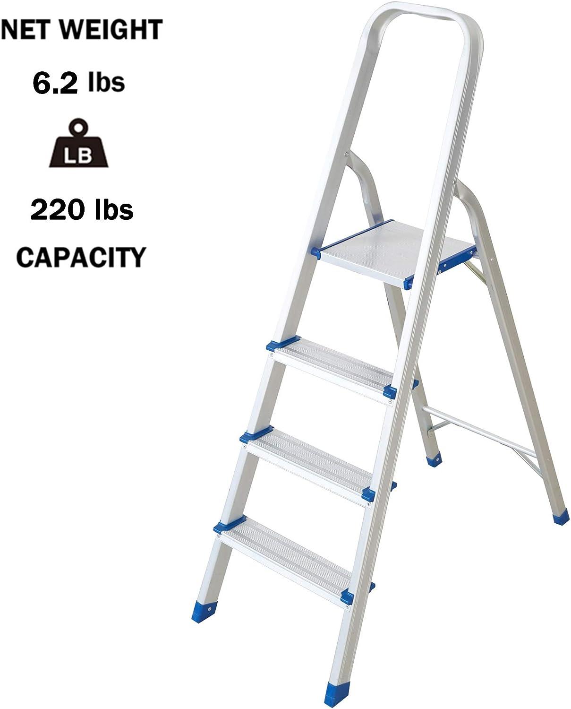 Lightweight 4 Step Ladder Folding Aluminum Step Stool for Home Kitchen