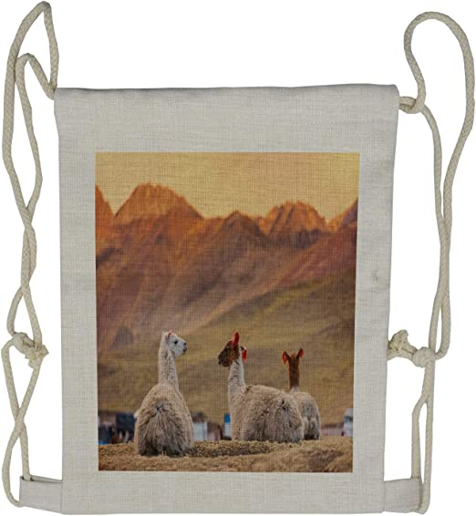 Vicuna Animal Drawstring Bags Waterproof Party Favors Pouch Tote Bag for Women Men