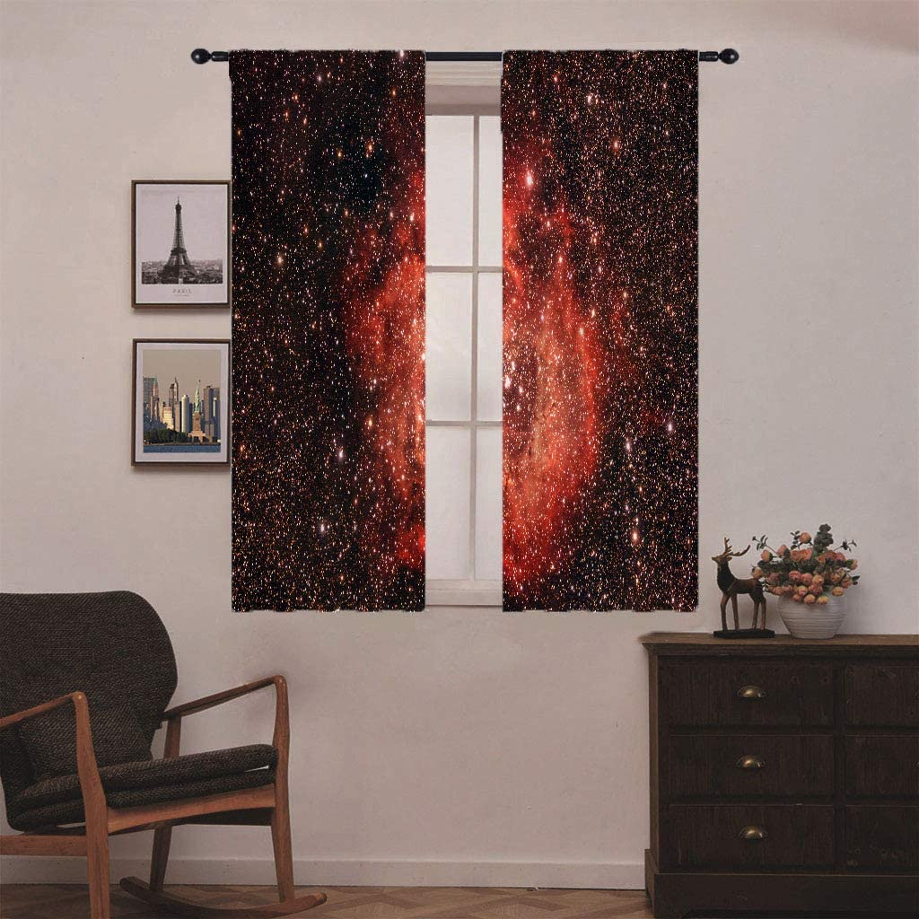 ANHOPE Space Window Curtains Nebula Starry Sky Psychedelic Planet Microfiber Blackout Fabric Galaxy Theme Rod Pocket Short Curtains for Kids Boys Bedroom Playroom 21 W X 45 L 2 Panels Blue Purple