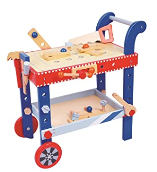 lelin wooden childrens diy builder tools workbench table set amazon
