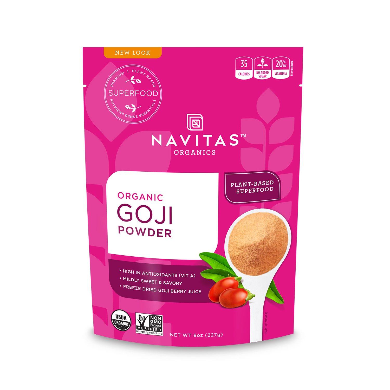 Navitas Organics Goji Powder, 8 oz. Bag — Organic, Non-GMO, Sun-Dried, Sulfite-Free