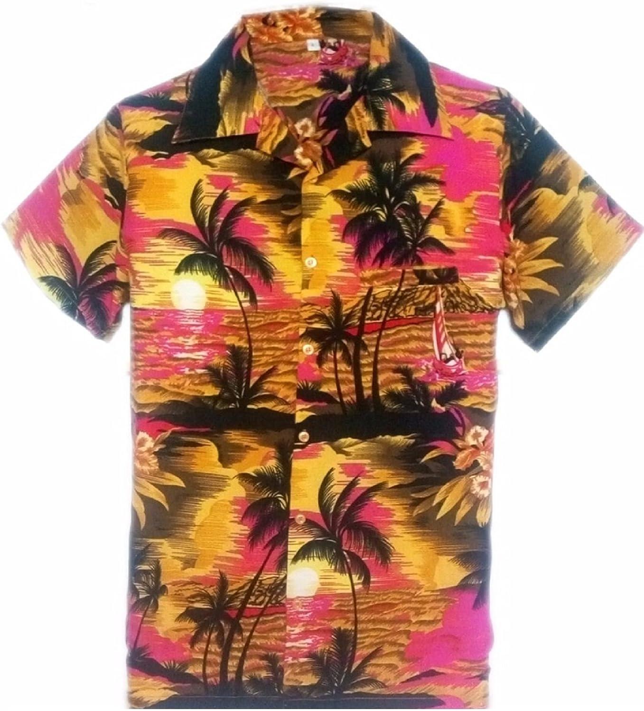 SAITARK - Camisa Casual - con Botones - para Hombre Pink Beach Palm Small: Amazon.es: Ropa y accesorios