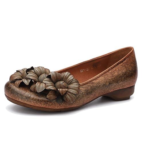 Zapatos de Ballet Planas para Mujer con Estilo étnico y Flores Mocasines de Cuero Genuino Hechos a Mano Vintage Zapatos de Plataforma Comodos Primavera y ...