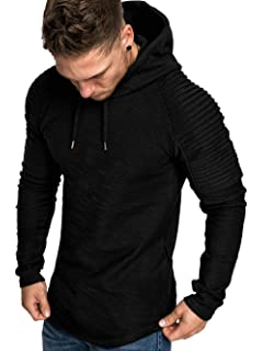 5c70e8c7a Kenancy Mens Pullover Hoodie Pleated Solid Color Drawstring Sweatshirt