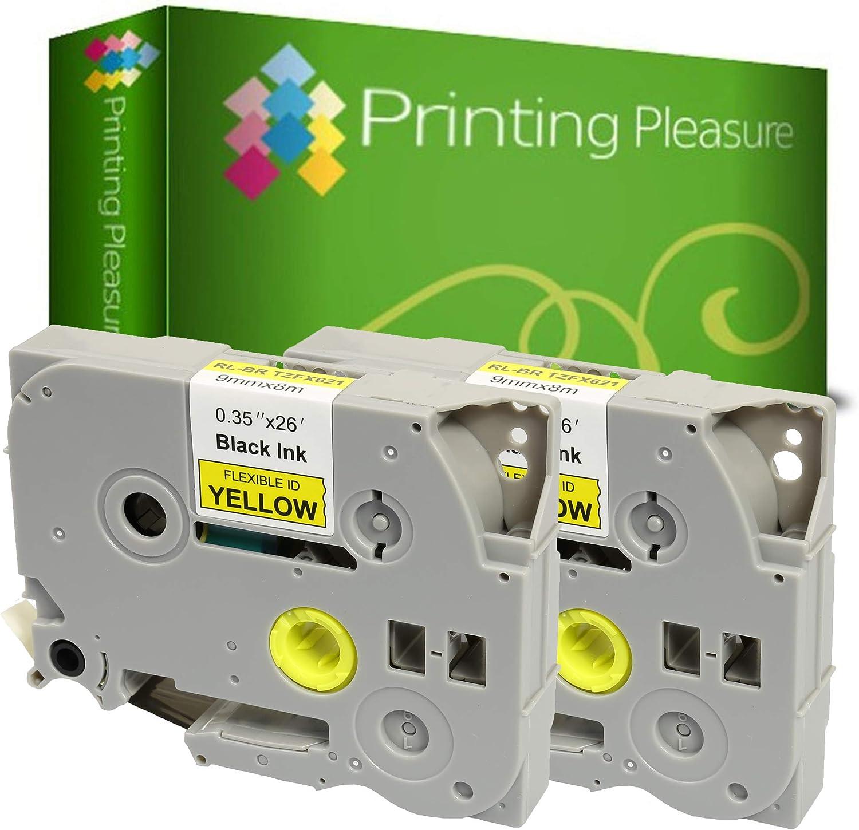 laminato 9mm x 8m Printing Pleasure 5 x TZe-FX221 TZ-FX221 Nero su Bianco Nastro flessibile compatibile per Brother/P-Touch Stampanti per etichette