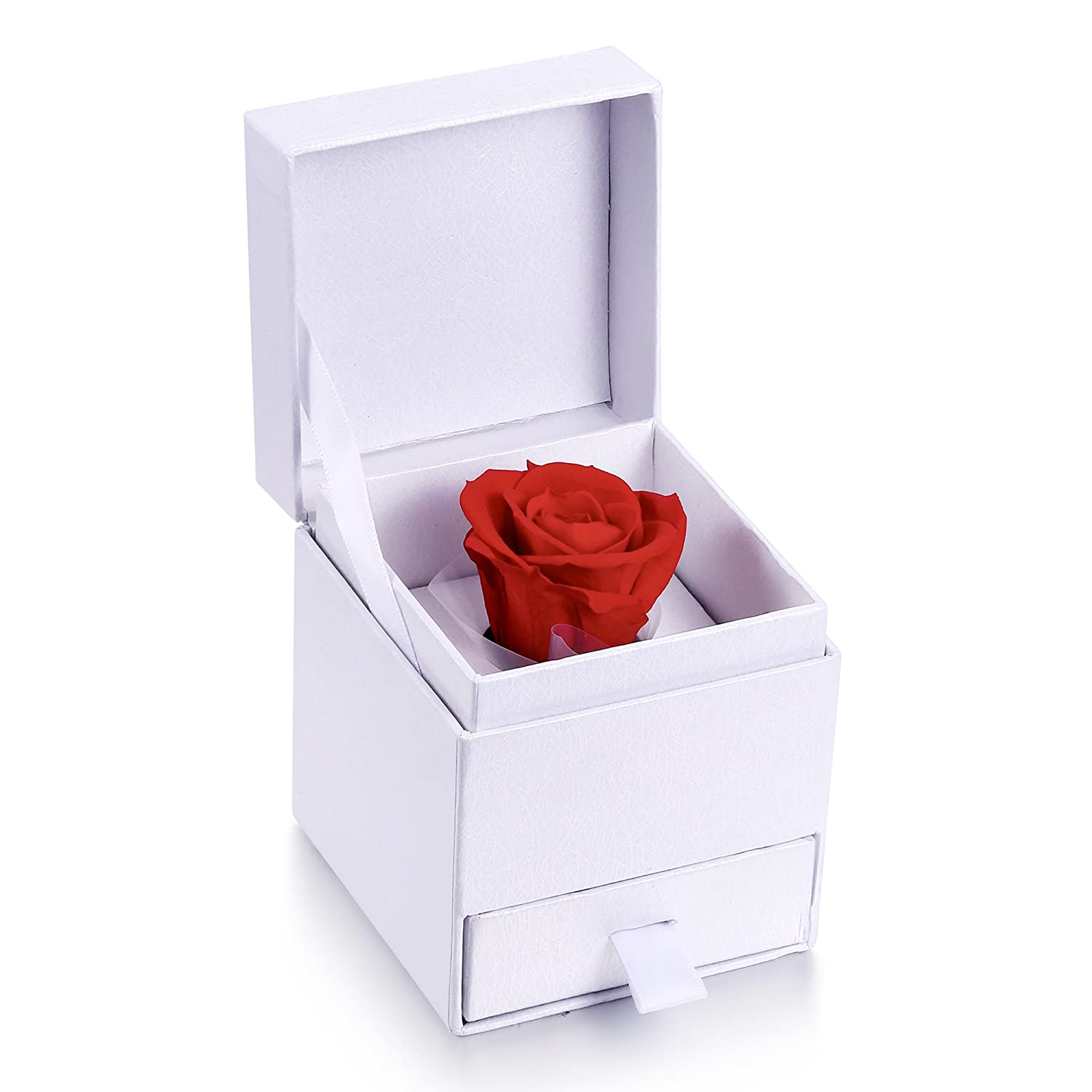 MARENJA-Mother's Day Gifts Jewellery Box with Preserved Rose for Necklace Earring Jewellery Set CA-MFB01