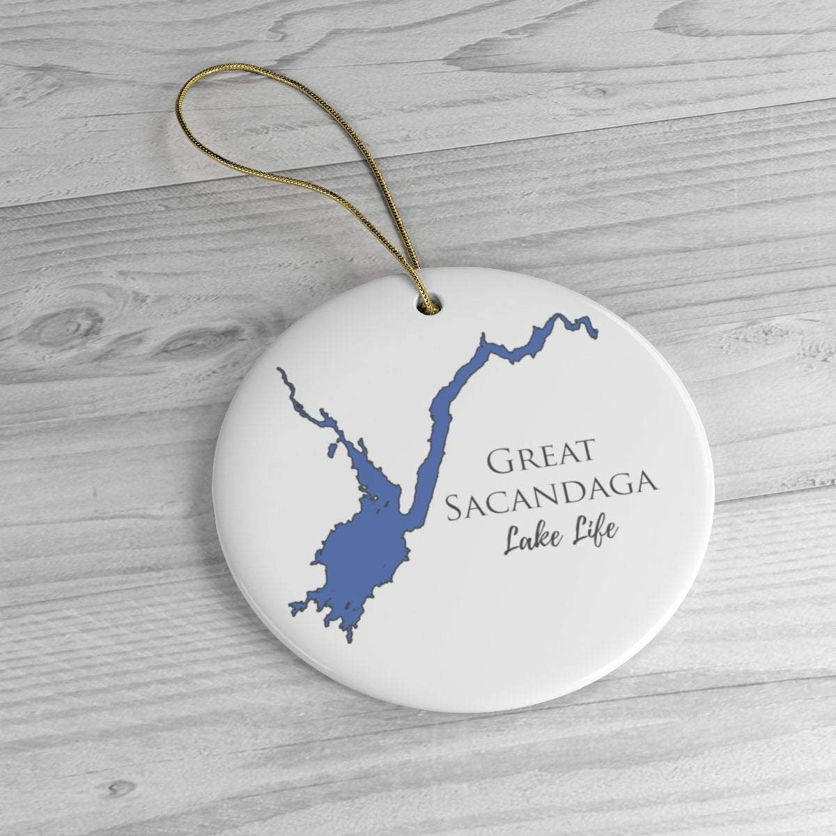 PotteLove Great Sacandaga Lake Life Ceramic Ornament - Classic Christmas Ornaments - New York Lake,Custom with Any Name and Date Porcelain Ornament