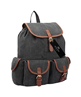 15 Colours Canvas Backpack Rucksack - Girls Ladies Womens Daypack Bags - 20 Litre Medium School Hand Luggage Size Backpacks 5 Pockets - Drawstring & Hood Closure - 36cm x 33 x 18 QL816M (Black Jeans)