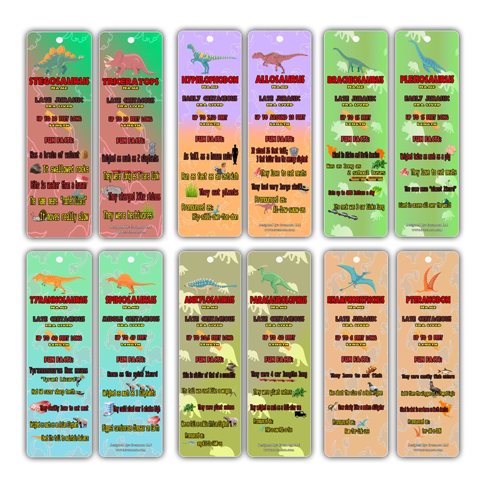 Dinosaur Party Supplies - Jurassic World Fun Facts Bookmark Cards (60-Pack)- Dinomite Birthday Party Favors - T Rex Tyrannosaurus Stegosaurus Triceratops - Stocking Stuffers Gifts