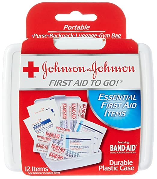 Johnson & Johnson First Aid To Go!, Emergency First Aid Travel Kit with Adhesive Bandages, Gauze Pads & Cleansing Wipes for Purse, Backpack, Gym Bag or Luggage, 12 pieces