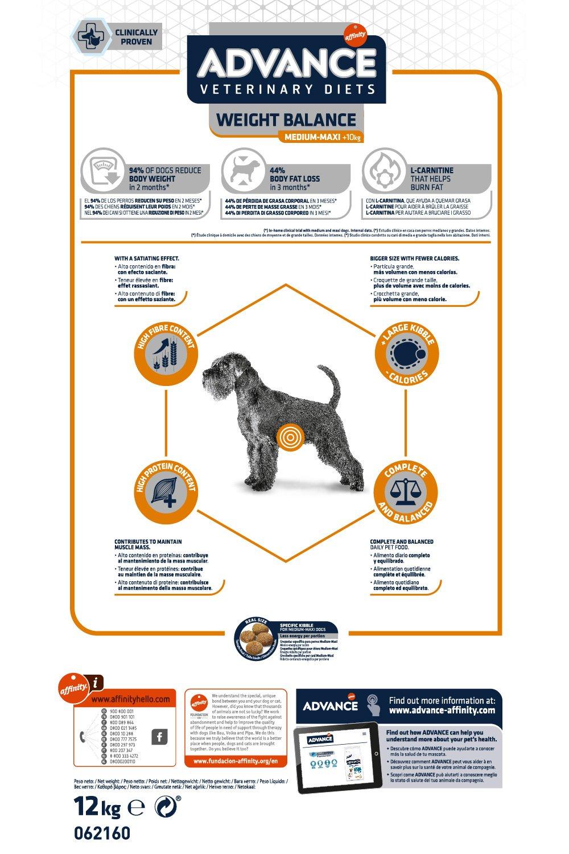 Advance Veterinary Diets Obesity, Comida para perros con tendencia a la obesidad, 12 kg: Amazon.es: Productos para mascotas