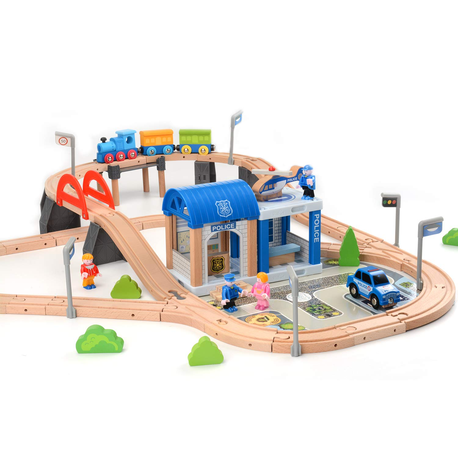 ZONXIE Wooden Train Track Sets Fits Thomas Brio Play Train Set with Bridge Battery Operated Play Set Police Office Deluxe Accessories Railway for Kids Toddlers Age 1 and Up (90pcs)