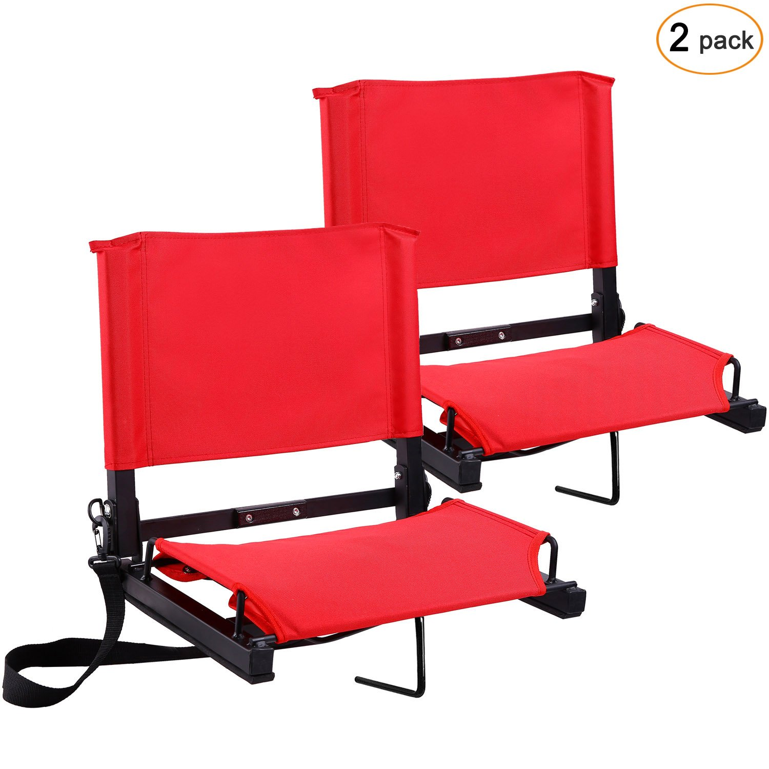 Ohuhu Stadium Chairs/Stadium Seats Bleacher Seats with Bungee Cord Cushion and Comfortable Backrest, Red 2-Pack by Ohuhu