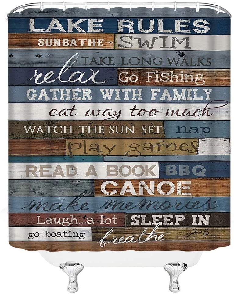 Hooks Included, Polyester Fabric Wood Shower Curtain Bathroom Accessory Sets Motivational Inspirational Funny Quotes Bathroom Rule Shower Curtains 69X70in Vintage Bathtub on Rustic Cabin Wooden