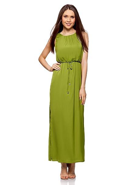 oodji Collection Mujer Vestido Largo con Elástico en la Cintura y Cordones, Verde, ES