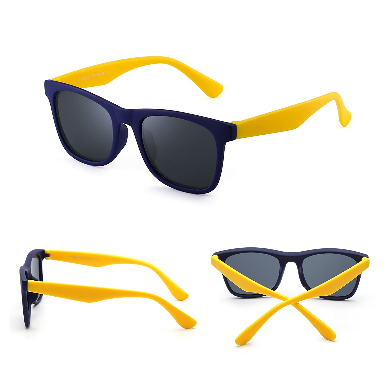 98988a7a3a77 Polarized Kids Sunglasses Rubber Boys Girls Children Flexible Glasses Age 3- 12 (Blue Yellow/Polarized Grey): Amazon.ca: Clothing & Accessories
