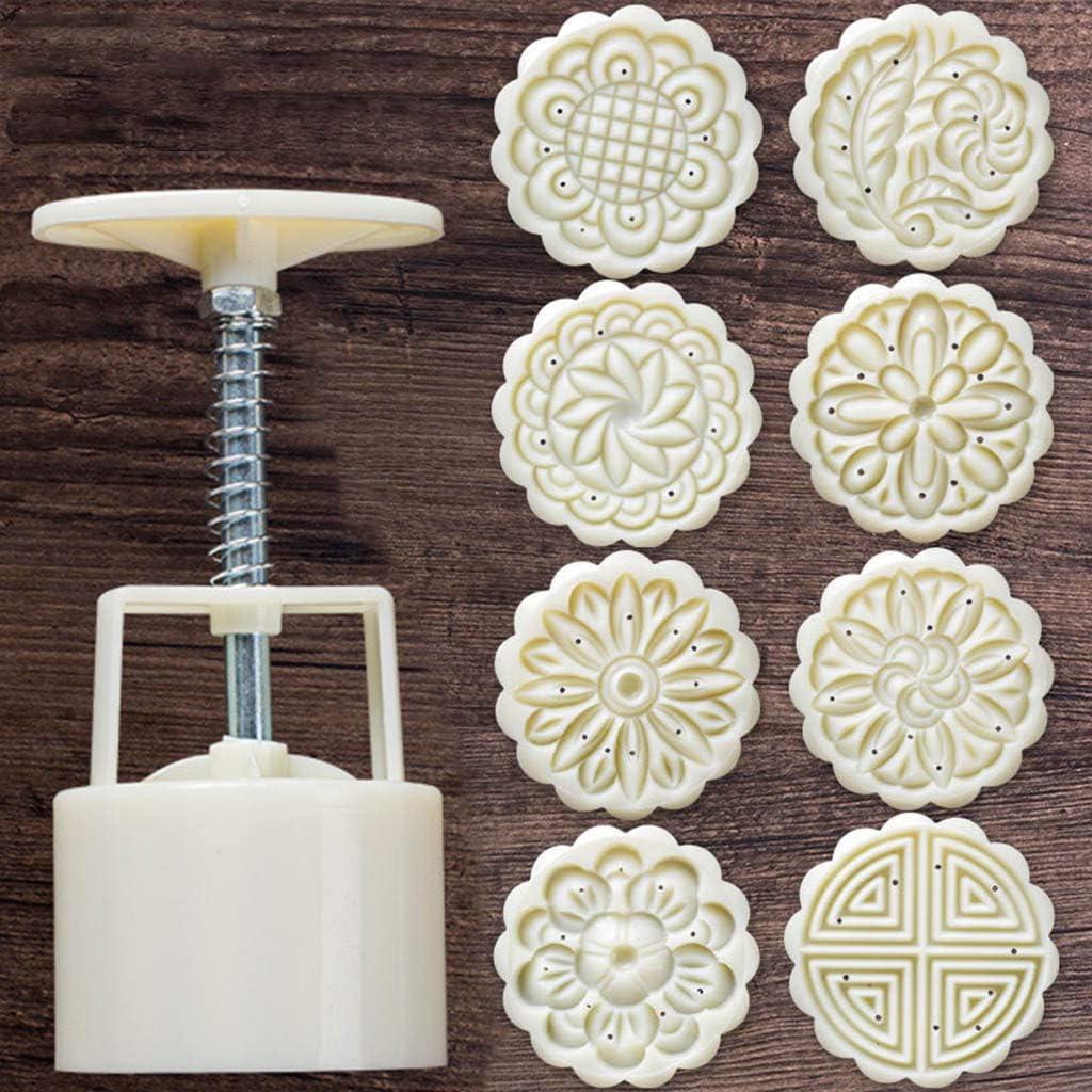 Xdodnev 8pcs Hand Press Cookie Stamp Moon Cake Decor Mould Barrel Mooncake Mold 75g DIY