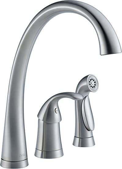 Delta Faucet Pilar Single Handle Kitchen Sink Faucet With Side Sprayer In Matching Finish Arctic Stainless 4380 Ar Dst Touch On Kitchen Sink Faucets Amazon Com