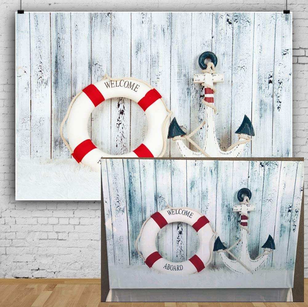 Nautical 8x10 FT Photography Backdrop Marine Anchor with Wind Rose Ship Wheel Sailors Sea Life Ocean Adventure Background for Baby Birthday Party Wedding Vinyl Studio Props Photography
