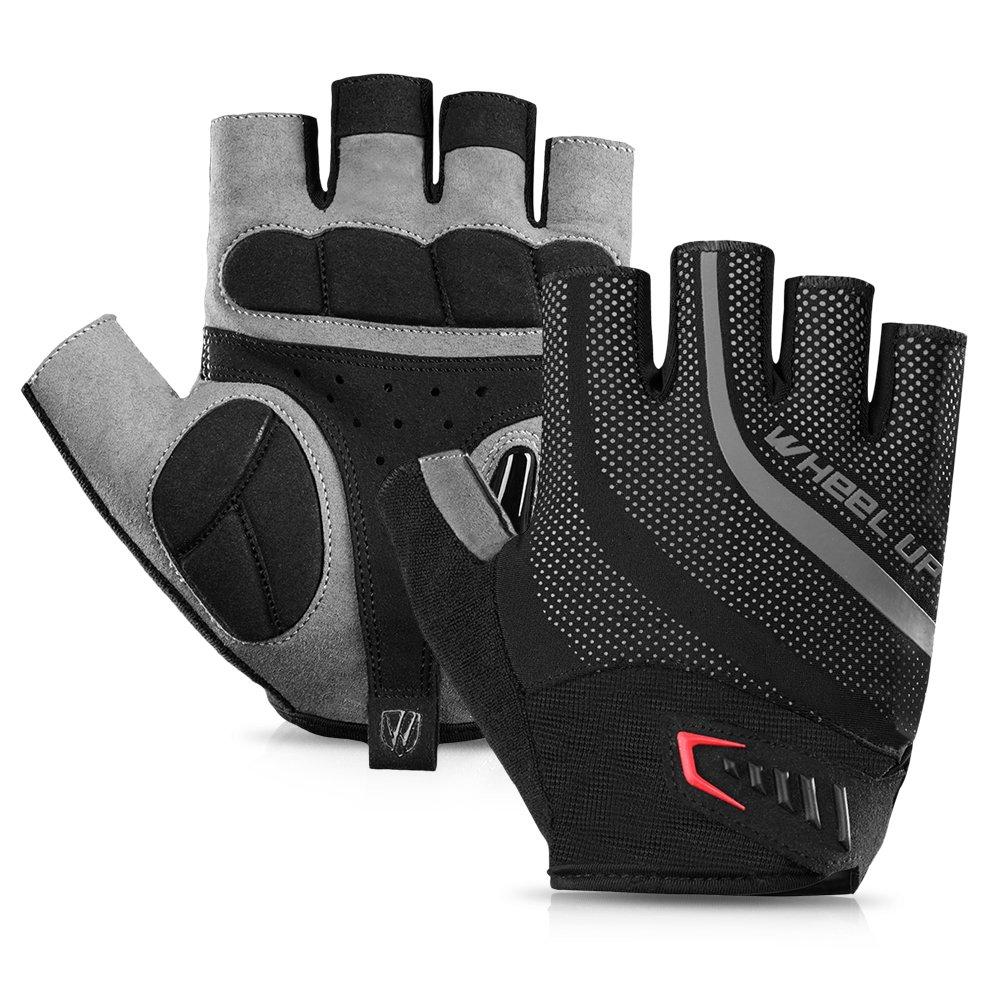 Lixada 1 paio di guanti da bici mezze dita guanti anti-scivolo bicicletta ciclismo equitazione moto antiurto sport guanto senza dita guanti