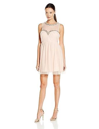 f344d12c67 Amazon.com  As U Wish Junior s Mesh Beaded Illusion Short Party Dress   Clothing