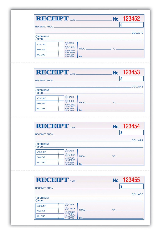 Amazon.com : TOPS Money/Rent Receipt Book, 3-Part, Carbonless, 11 ...