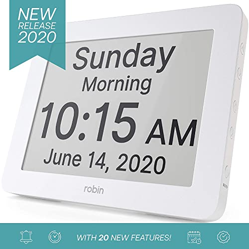 Robin, 2020 Version, Digital Day Clock 2.0 with Custom Alarms and Calendar Reminders, Alarm Clock with Extra Large Display helps with Memory Loss, Alzheimer s and Dementia, White