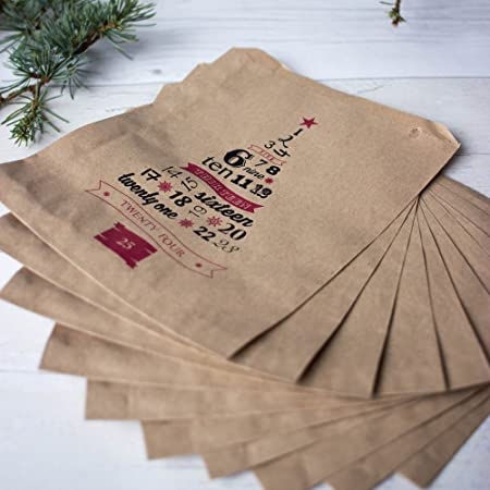 Christmas Brown Kraft Paper Advent Bags Set Of 10 Gift Craft Diy
