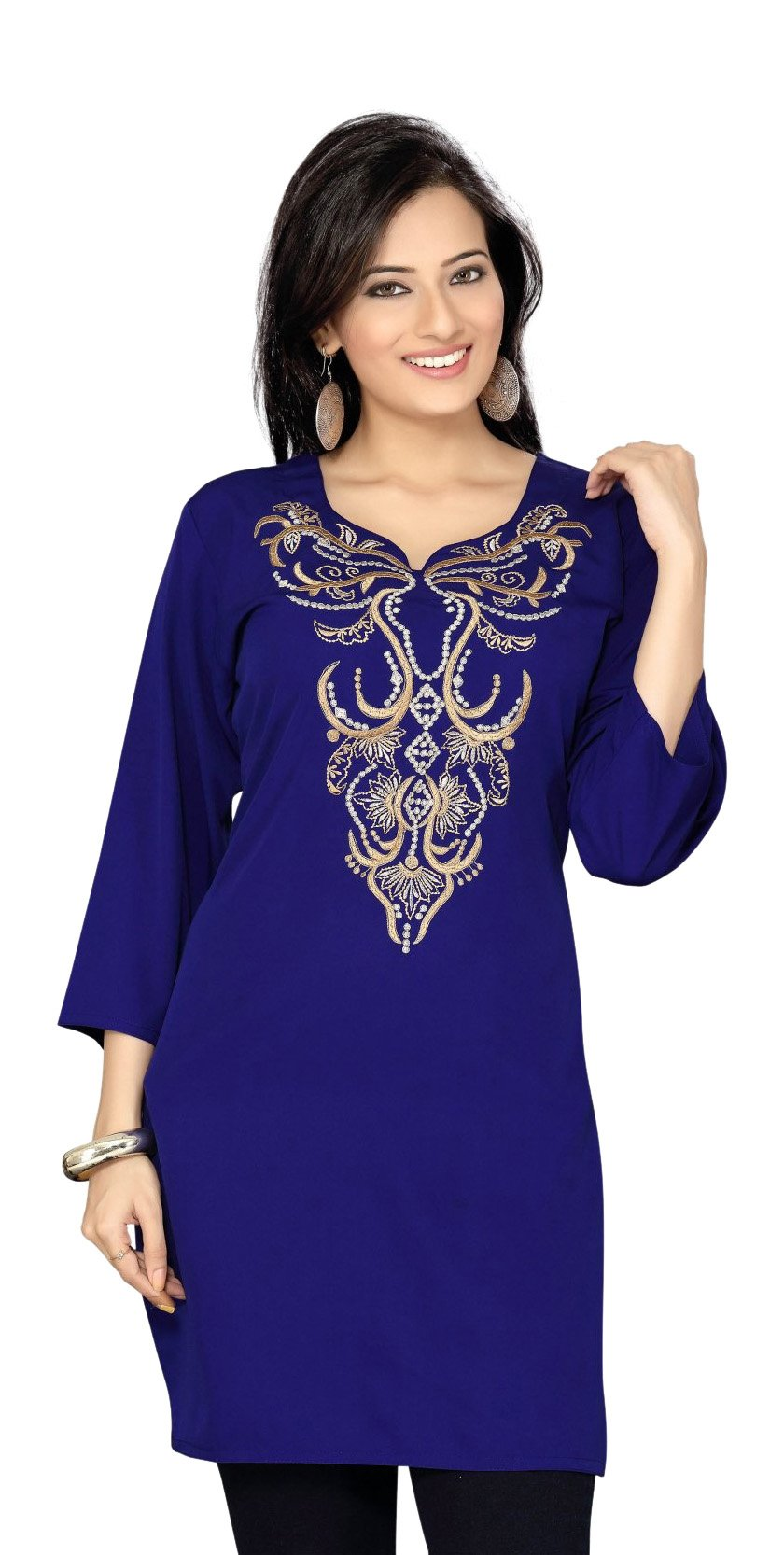 Navy Blue Crepe Kurti / Tunic with thread / Zari emroidery-X-Large