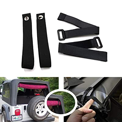 Jade Onlines Durable Tie Down Straps Soft Top Straps Window Roll Up Snap Straps Sunrider Straps for Jeep Wrangler 2007-2020(Black,Set of 4 Pieces): Automotive