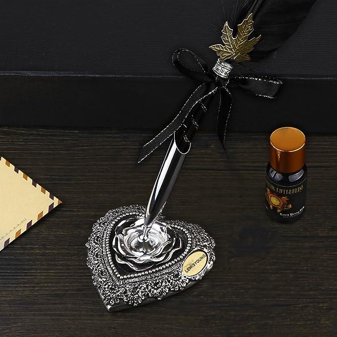 Kit de bolígrafo pluma de ganso pluma con cuerpo de mano tallada plumas dip pen Kit con elegante soporte de tallado pluma botella de tinta//5Pcs punta ...