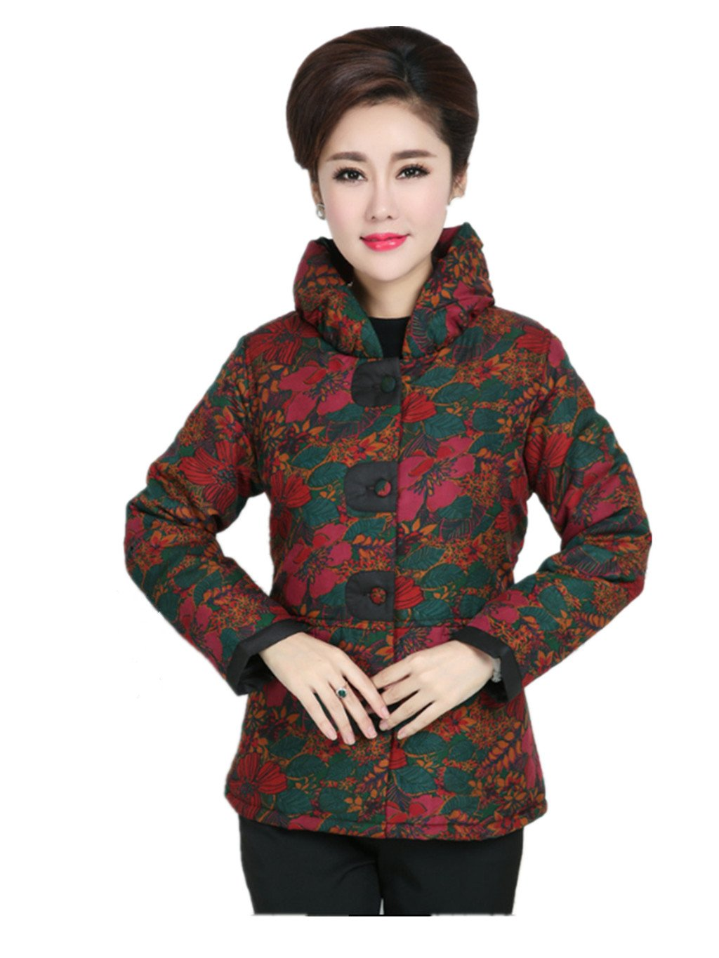 100% Mulberry Silk Womens Tang Suits Cotton-padded Jackets Chinese Coats Womens Jackets