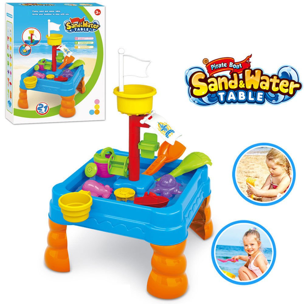 Kids Sand and Water Table - Toddler Bubble Splash Water Table - Splash and Scoop Kids Table – Detachable Legs – Beach Tools and Water Cans Lenoxx