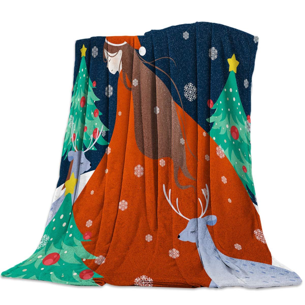 Singingin 女の子用 クリスマス 洋服 鹿 フランネル スロー ブランケット スーパーソフト 暖かい 心地よいスタジアムブランケット カウチ 椅子 ソファ ベッド 普段使いに 49