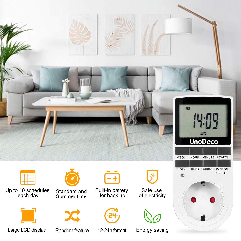 Temporizador Programable con Pantalla LCD para Ahorro de Energ/ía.Unodeco U002 Enchufe UE 24//7 Temporizador Digital con Horario Aleatorio y de Verano