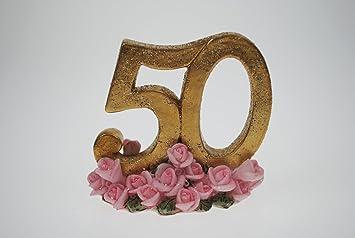 Goldene 50 Mit Rosen Ca 7cm Deko Goldhochzeit Goldene Hochzeit