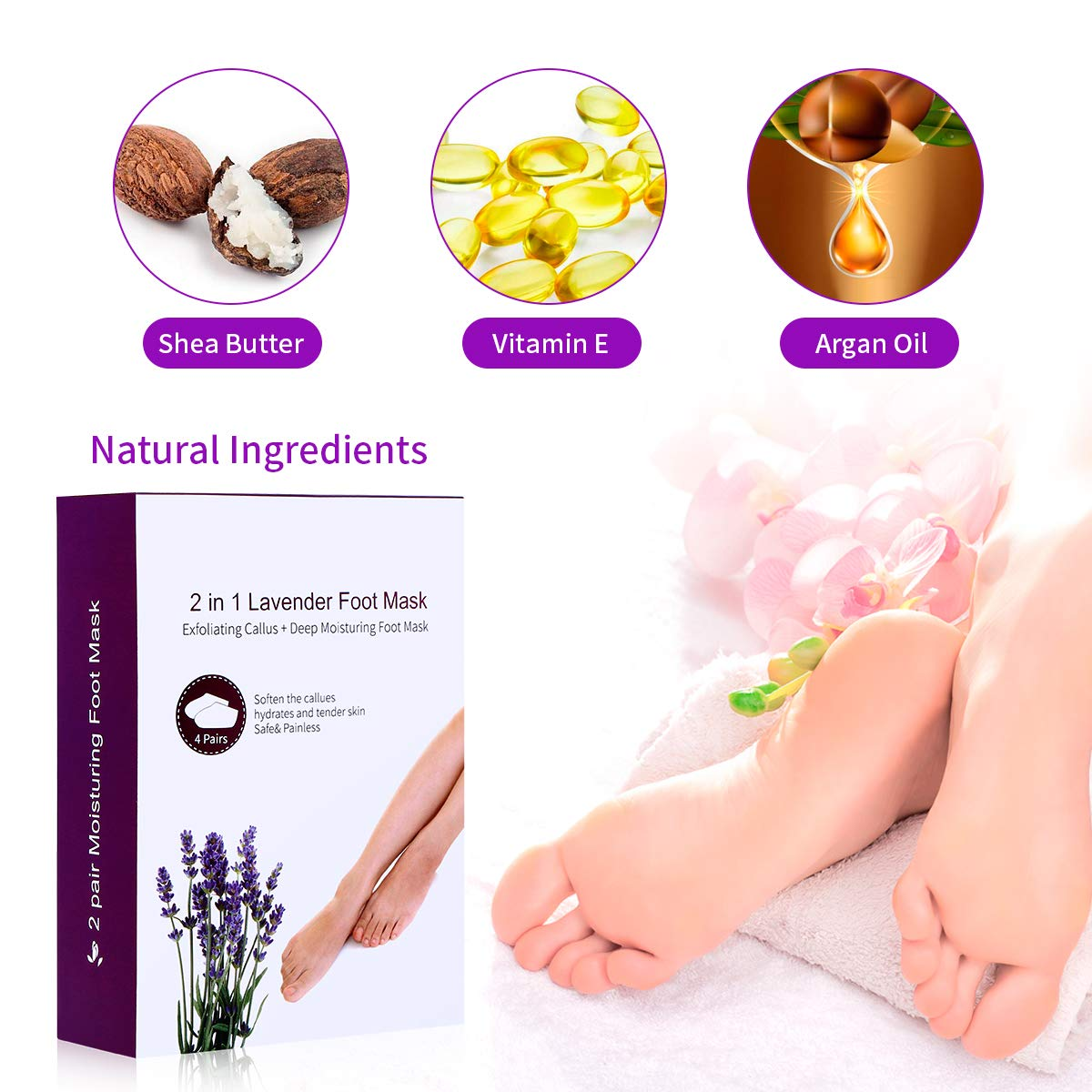Foot Peeling Mask Remove Dead Skin Cells and Calluses-Lavender Moisturizing Foot Mask+ Exfoliating Foot Peel Mask Set for Men and Women (4 Pairs)