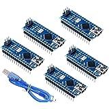 5pcs Mini Nano V3.0 ATmega328P 5V 16MHz Micro Controller Board Module Nano Board CH340G Chip with Mini USB Cable for…