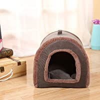 EDTara Pet House Creative Pet Tant House Indoor Corduroy Puppy Dog Comfy Nest Cave Kennel Cat Cozy Sleep Bed