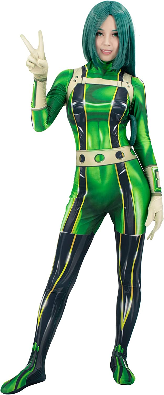 C-ZOFEK Boku no Hero Academia Asui Tsuyu Bodysuit Froppy Green Cosplay Costume Jumpsuit