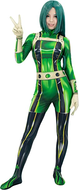 C Zofek My Hero Academia Froppy Bodysuit Asui Tsuyu Cosplay Costume Green Jumpsuit