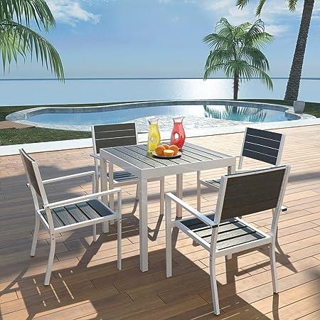 Tidyard Conjunto de Mesa y 4 Sillas de Jardín,Conjunto de Muebles de Jardín 5 Piezas para Jardín Terraza Patio,Aluminio y WPC Negro: Amazon.es: Hogar