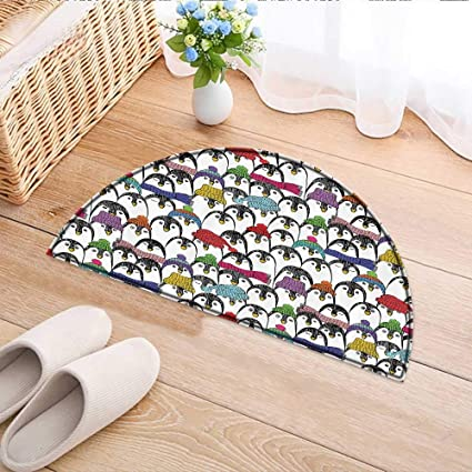 Kitchen Rugs Floor Mats Pattern With Cute Penguins In Hats And Scarfs Cold  Winter Fun Waterproof