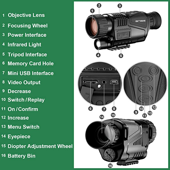 Monocular infrarrojo de visión Nocturna en HD de 8x40 con cámara ...