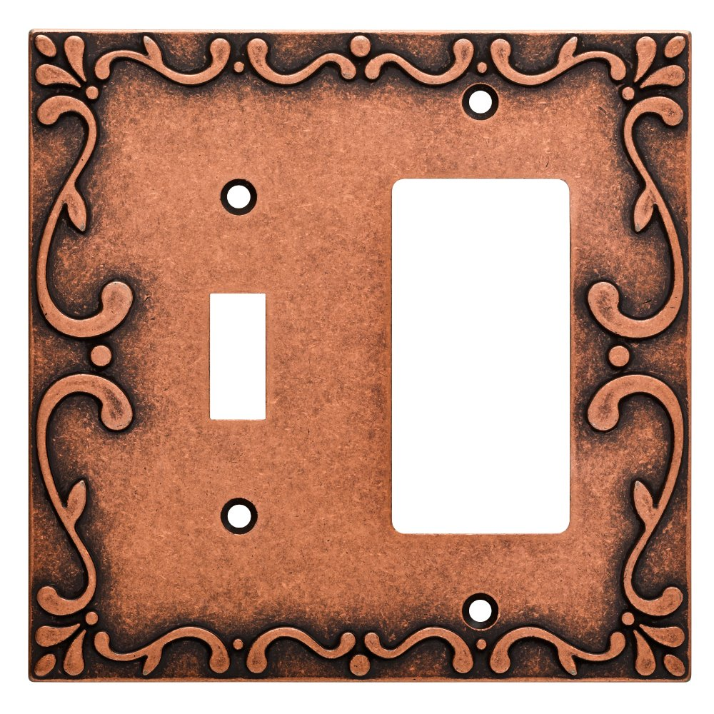 Franklin Brass W35075-CPS-C Classic Lace Switch/Decorator Wall Plate/Switch Plate/Cover, Sponged Copper