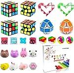 Party Favor Pinata Filler,Treasure Chest,Mini Magic Cube,Brain Teaser Puzzle Boxes,Mochi Squishies,Snake