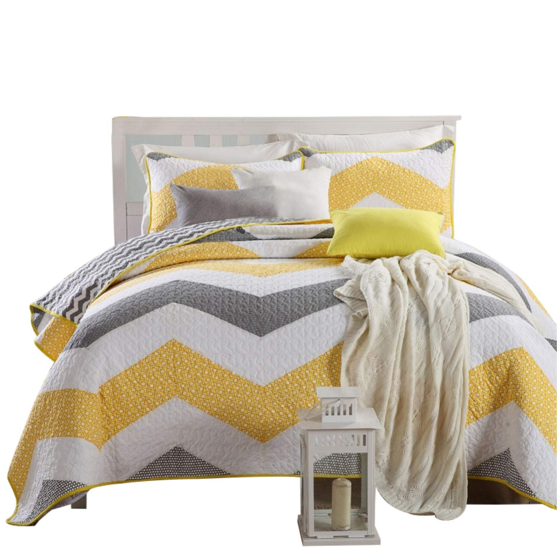 Topmail 3tlg.Baumwolle Sommerdecke Bettüberwurf Tagesdecke amerikanischen Bett Decken Bettdecke Außenhandel Quilting Gesteppte 230x240cm weiß mit gelb und grau Streifen Bettwäsche