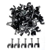 50 x 5mm Negro Clips Rondos de cable