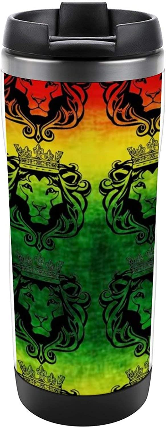 NiYoung Girls Boys Travel Coffee Cup Premium Stainless Steel Safe Double Wall Vacuum Insulated Travel Tumbler Cup Rasta Lion Cool Thermal Mug for Ice Drink & Hot Beverage